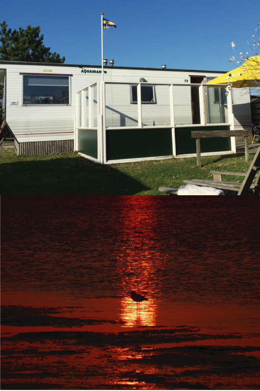 Aquamaryn en zonsondergang